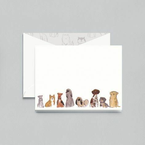 Dogs Group White Folded Note Set