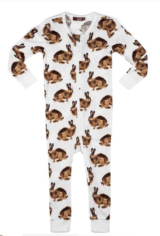 Milkbarn Zipper Pajamas - Bunny