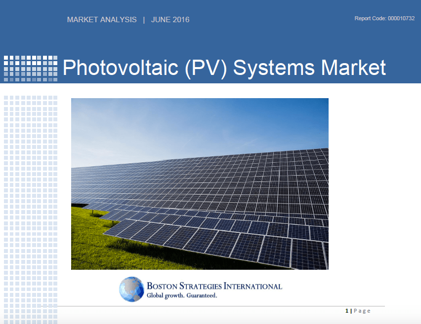 Photovoltaic (PV) Systems Market - Complete Report 10741