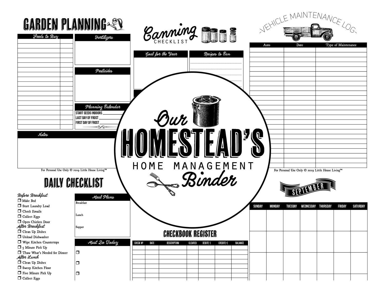 Homestead Management Binder Pages Instant Download