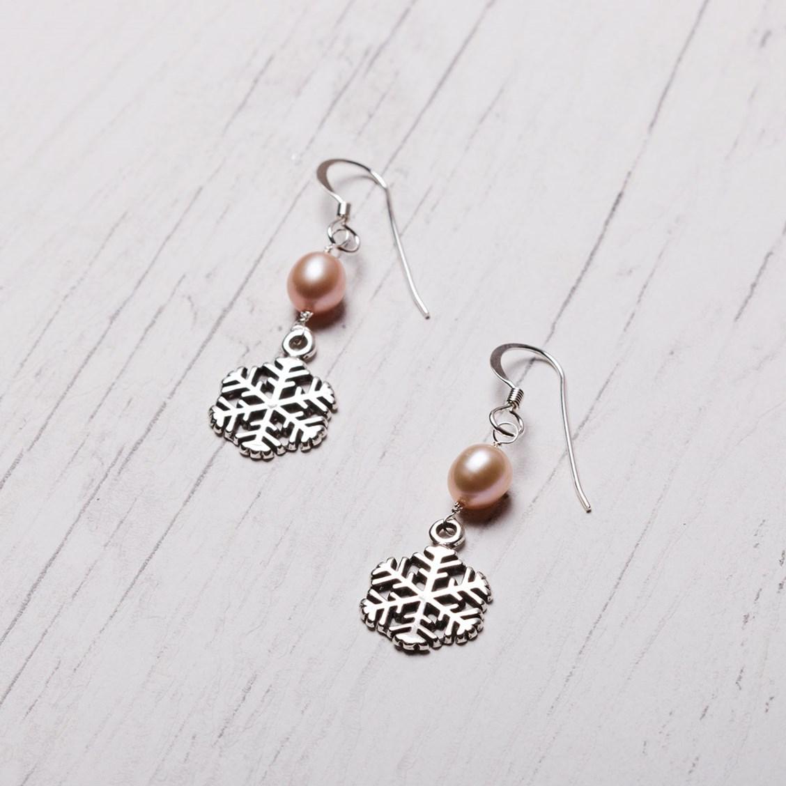 Snowflake Amp Pearl Earrings