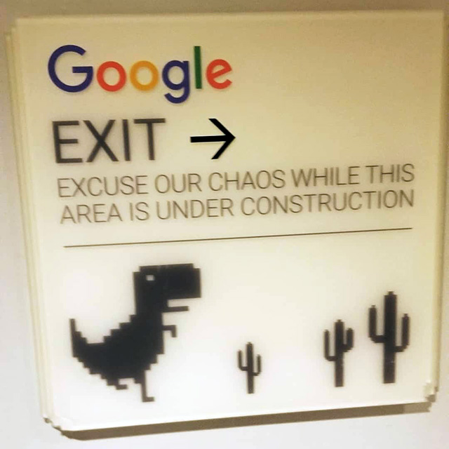 Google Construction Exit Sign With Dinosaur & Cactus