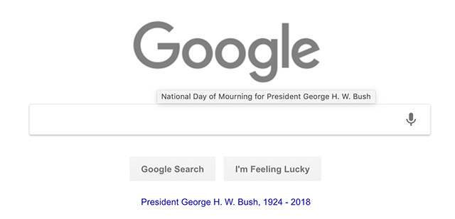 Google Gray Logo For President George H. W. Bush National Day Of Mourning