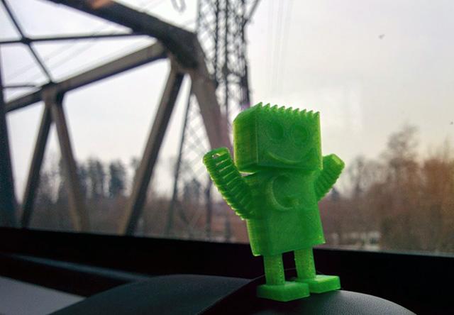 Green GoogleBot On The Train