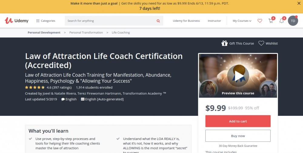 best law of attraction courses online | #1 Law of Attraction Life Coach Certification