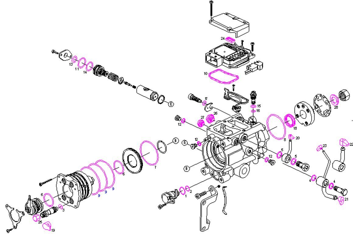 Sel Pump Repair Kit Seals Opel Astra Vectra Zafira