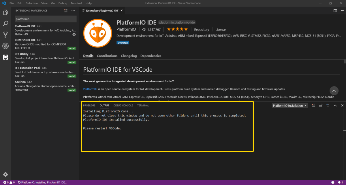 PlatformIO installation in progress in VSCode