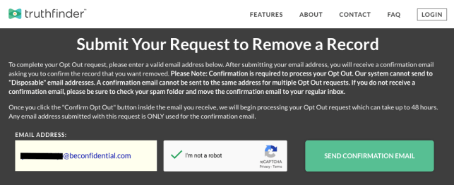 remove yourself from truthfinder opt out removal