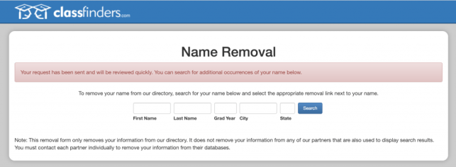 How to Remove Yourself from ClassFinders opt out removal