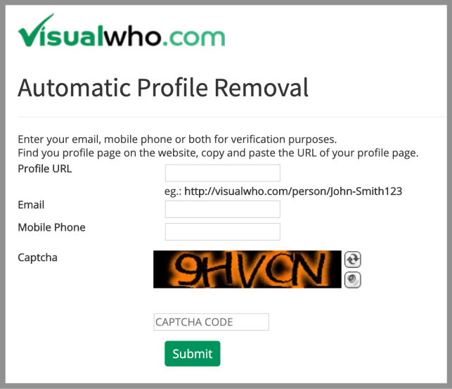 Remove Yourself from Visual Who opt out removal