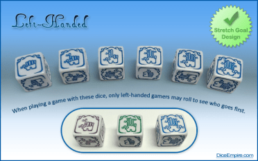 Available Colors - DICE: white. PAINT: purple, green, blue.