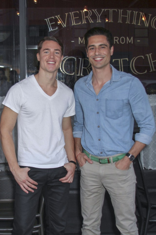 From left: Alexander Dreymon, Vincent Montuel outside 'The Addiction Bistro' Photo by Michael J Douglass