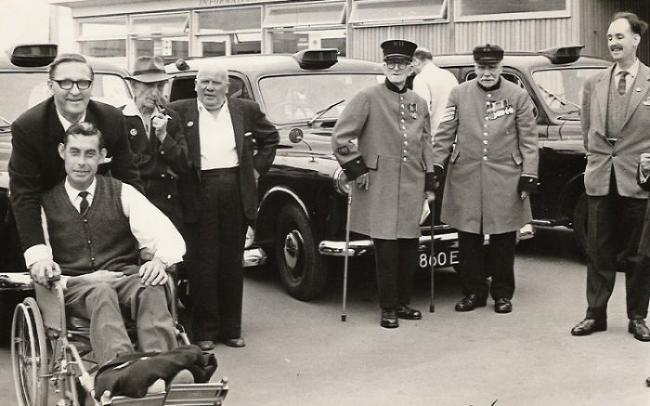 Veterans from World War II on a trip to Worthing with the taxi charity in 1964.