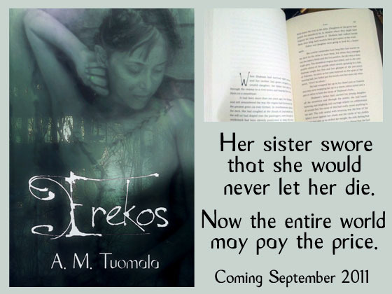 A cover image and interior shot for fantasy novel Erekos