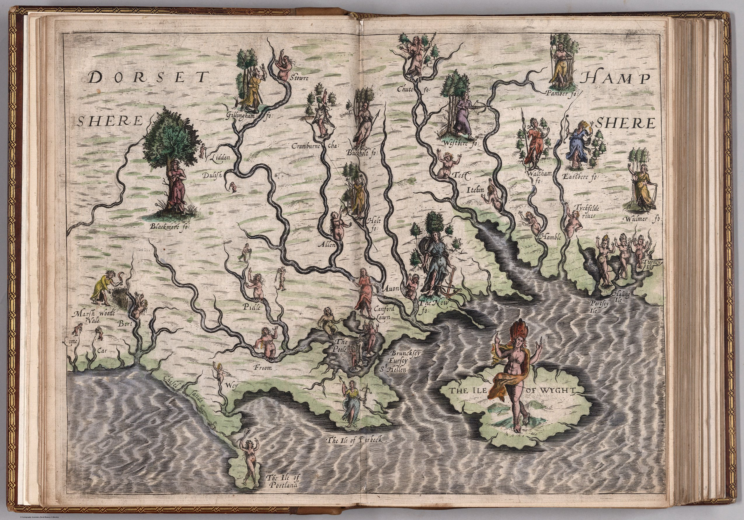 Online Map Collections   Maps  Atlases   Gazetteers   Research     Dorsetshere  Hampshere map  1622