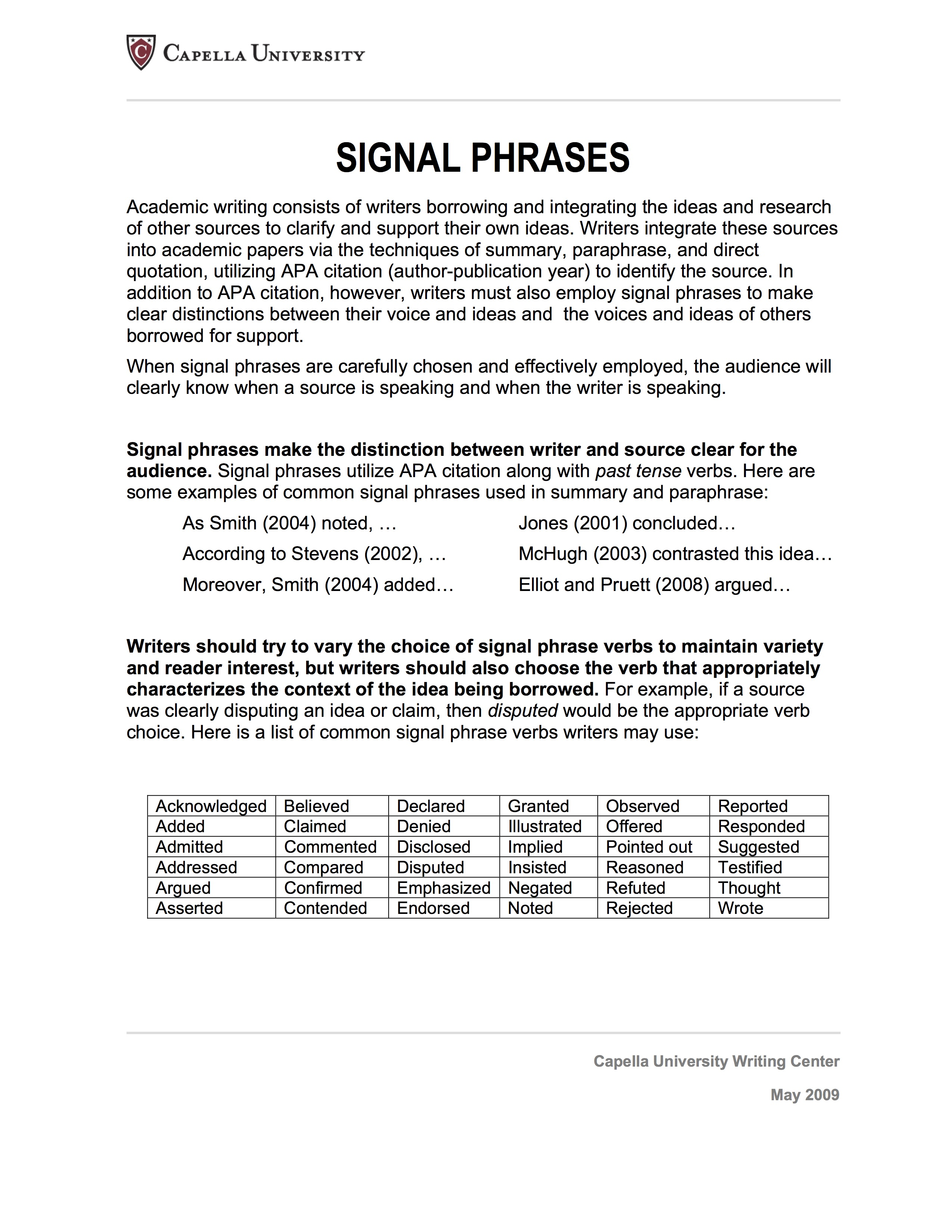 Integrating Sources Using Signal Phrases