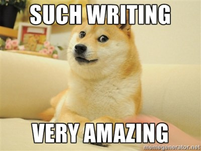 doggo meme about creative writing