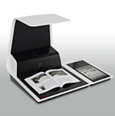 A book is placed on a scanner