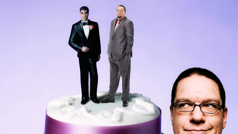 Penn Jillette wedding cake spoof