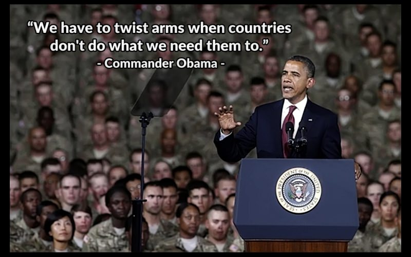 Commander Obama twist arms