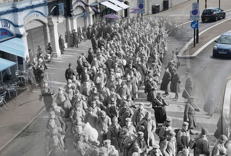 German prisoners of war during the First World War on their way to Southend Pier accompanied by guards and watched by the local populace Picture: Peter Macdiarmid/Getty Images