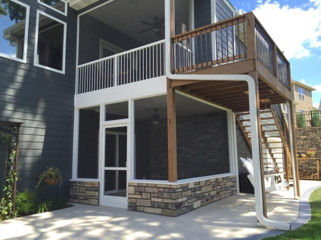 finished two-story screen porch