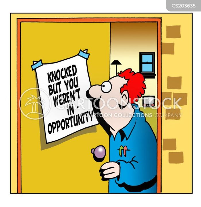 Image result for opportunity knocks cartoon