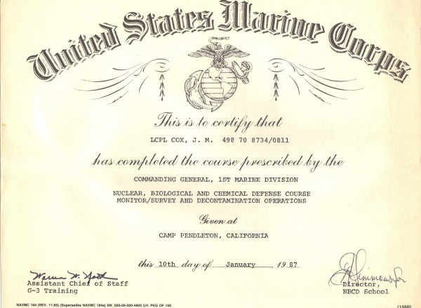Usmc Good Conduct Medal Certificate