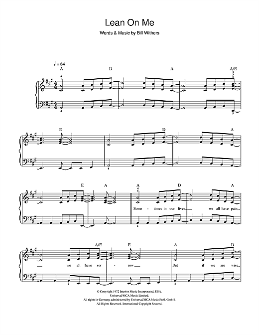 Lean On Me Piano Chords