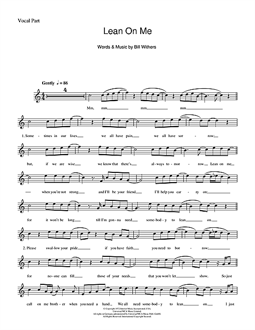 lean on me piano sheet music with letters   Dulahotw.co