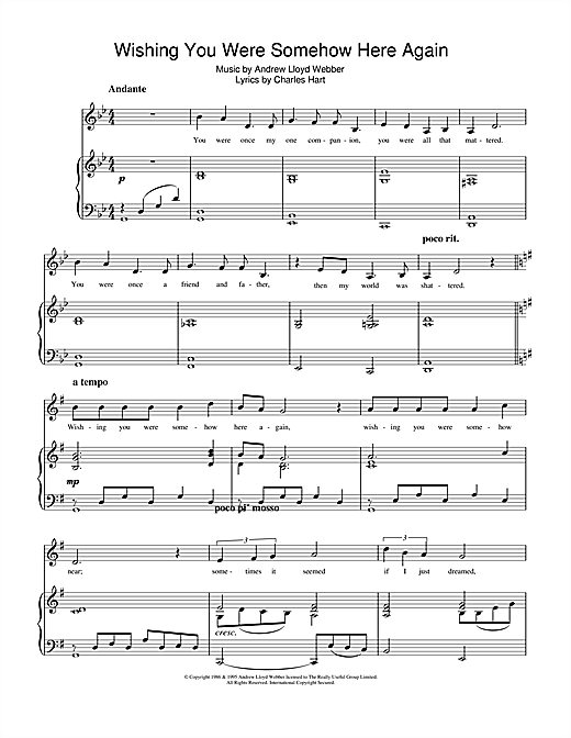 Wishing You Were Somehow Here Again From The Phantom Of The Opera Sheet Music By Andrew Lloyd
