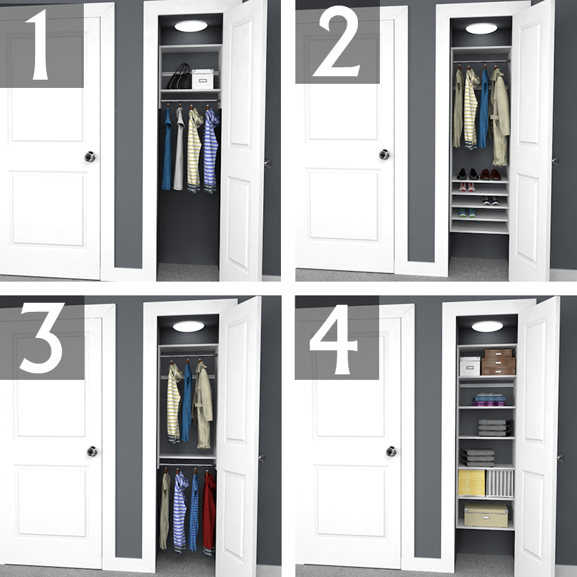 Design Ideas For 6 Foot 3 Foot And 2 Foot Reach In Closets Easyclosets