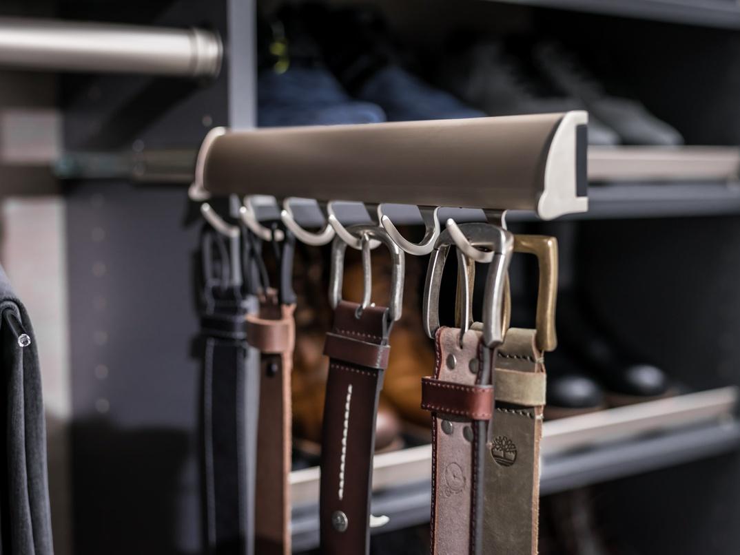 slide out belt rack easyclosets