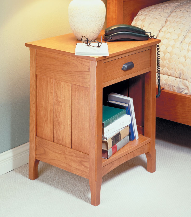 cherry bedside table woodworking