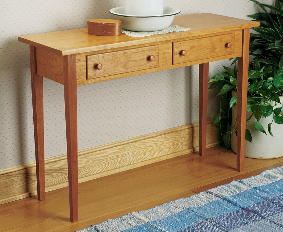 shaker hall table woodworking project