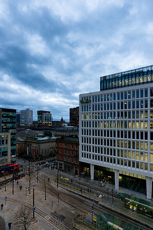 Cityscape | Manchester Canvas wall art | for sale | Manchester blue hour