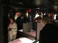 Visitors view the exhibit