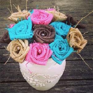 Burlap Flower Centerpiece, Colors