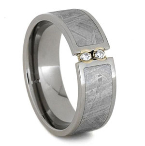 Men's Meteorite and Titanium Etched Diamond Wedding Band