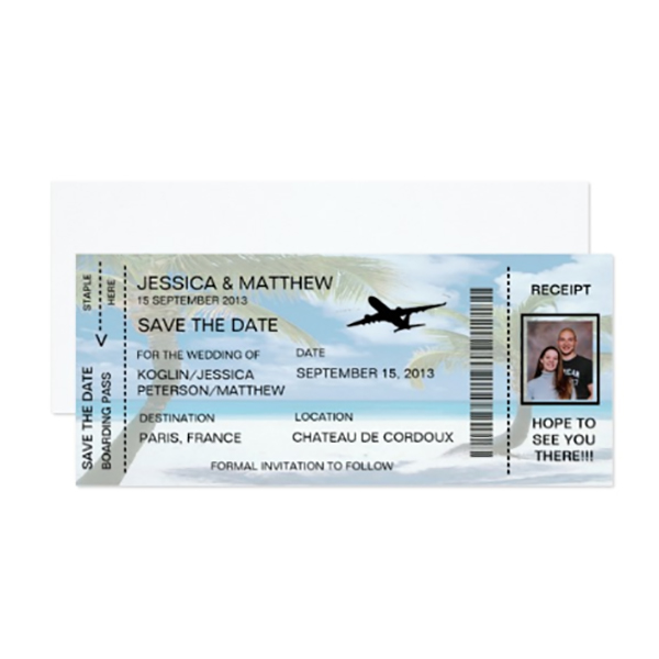 You can totally get into the destination wedding mood early by sending boarding pass wedding invitation or save the dates that look like airplane tickets. These are completely personalized to be invites or announcements. Just type in what you want them to say when you order. Find out more by looking for it in one of the first four listings on the page. #MyOnlineWeddingHelp #DestinationWedding #TropicalWedding #WeddingInvitation #SavetheDate