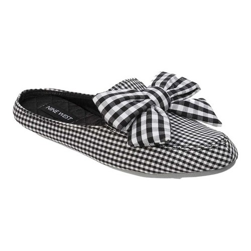 Women's Nine West Loafer Scuff Slipper with Bow, Size: M M, Black/White