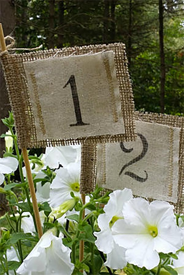 Burlap is still in for weddings! These rustic burlap table numbers flags would be cute in the centerpieces at the wedding. Look for them as the first or second listing on the page. #MyOnlineWeddingHelp #RusticWedding #BurlapWedding #TableNumbers #RusticCenterpieces