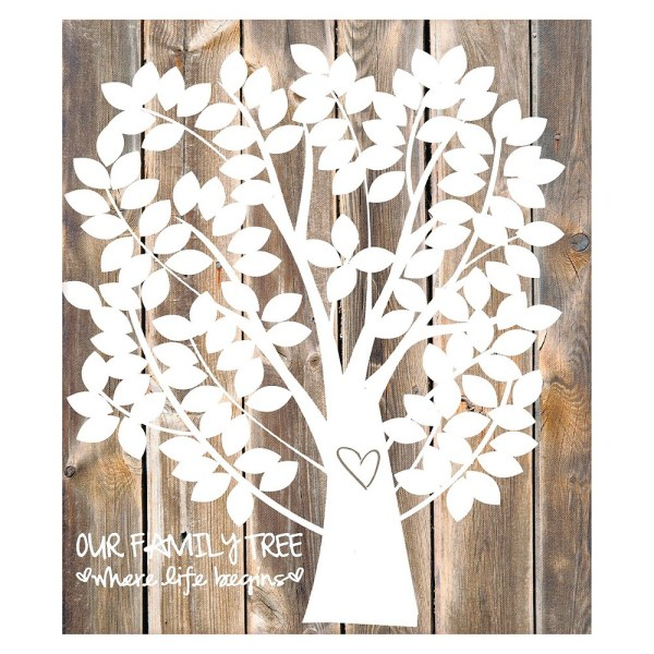 Our Family Tree Gallery Wrapped Canvas Guest Book, Washed Wood