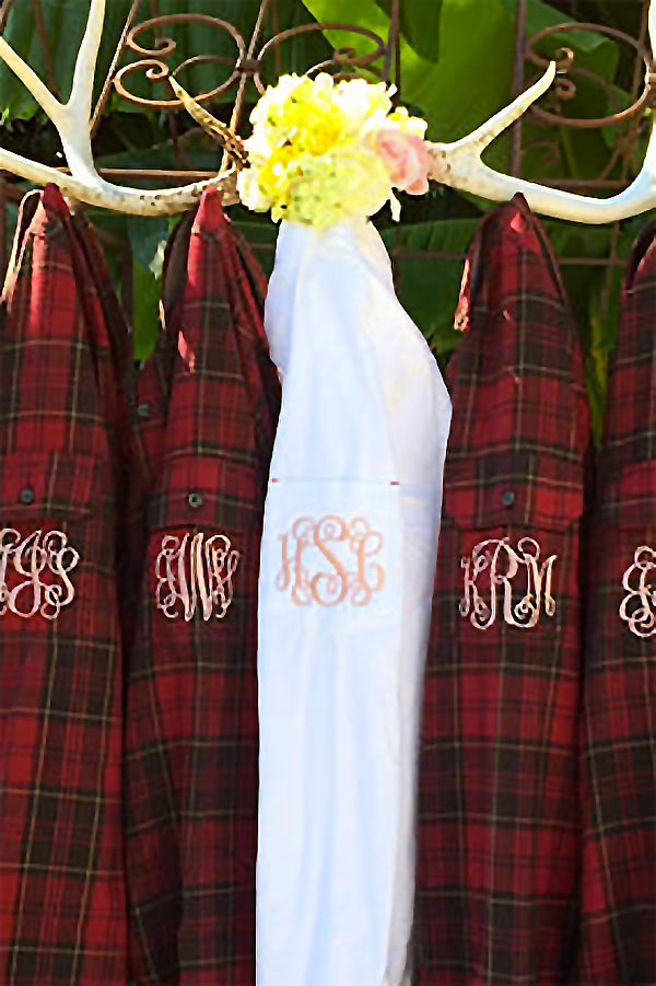 Rustic plaid bridesmaids shirts with pocket monograms. These are a great bridesmaids gift idea. The ladies can wear these flannel shirts as a getting ready for wedding outfit and at an informal country reception. They will make for unforgettable photos! Tap and look for these as the second or third buy listing. In the My Online Wedding Help products section. #RusticWeddingIdea #MyOnlineWeddingHelp #GettingReadyWedding #CountryWeddingIdeas #RusticWedding