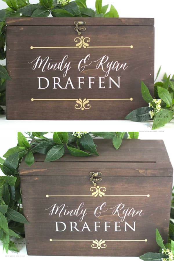 Vintage style rustic wedding, wooden card box. Such an elegant design! $75.00. Buy it in the My Online Wedding Help products section. #MyOnlineWeddingHelp #VintageWedding #RusticWedding #CardBox