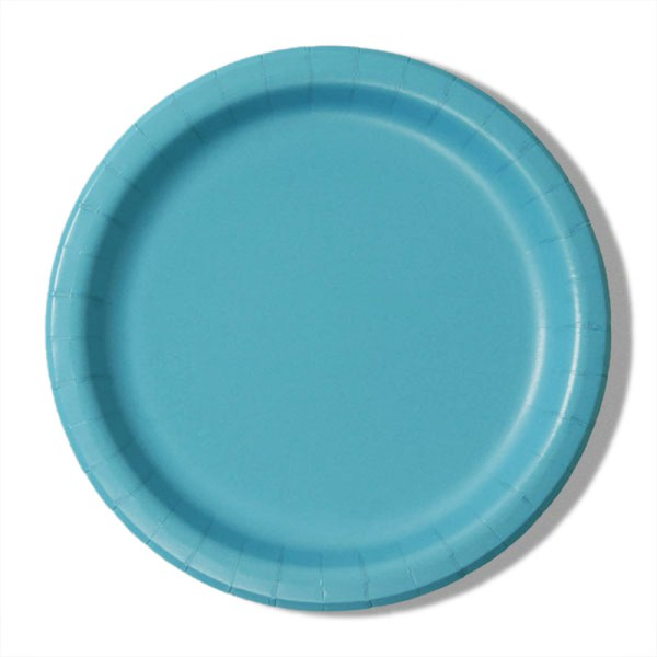 """7"""" Bermuda Blue Paper Lunch Plates - Quantity: 8 - Household Supplies by Paper Mart"""