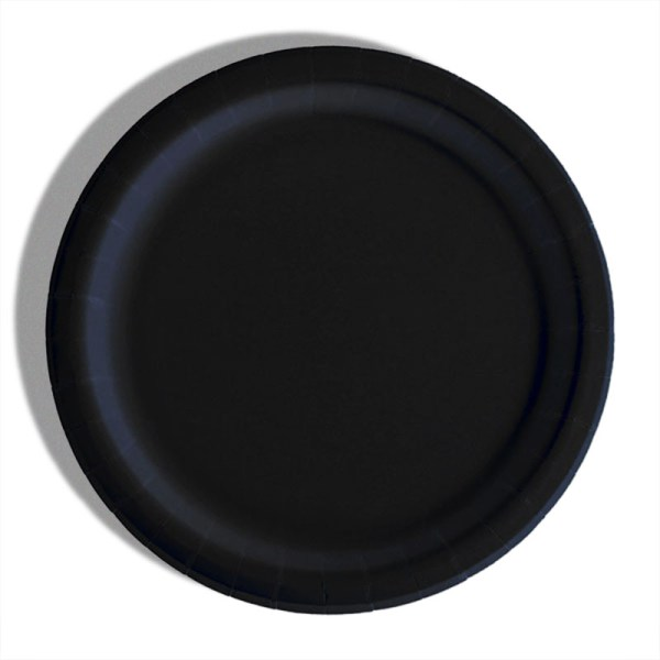"""7"""" Black Paper Lunch Plates - Quantity: 8 - Household Supplies by Paper Mart"""