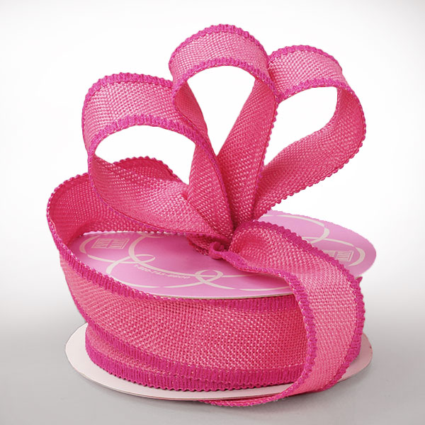 "1 1/2"" X 10 Yards Mesh Hot Pink Side Stitch Burlap Ribbon by Ribbons.com"