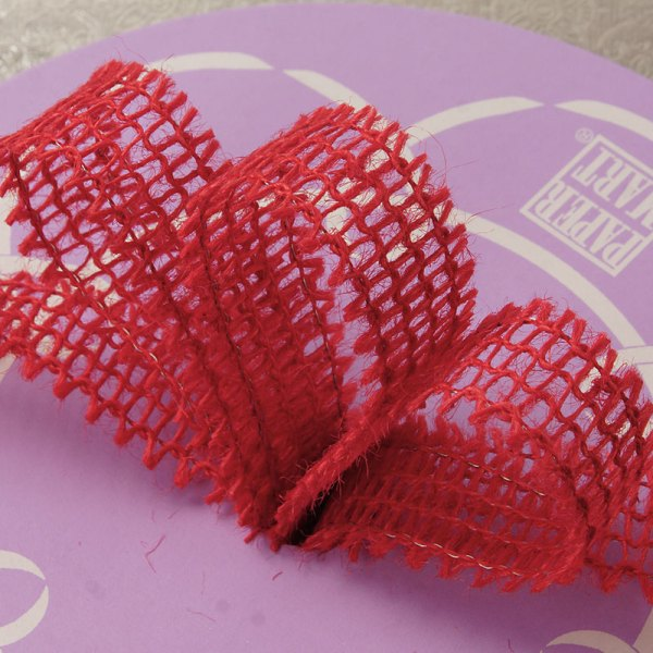 """7/8"""" X 25 Yards Mesh Red Wired Burlap Ribbon by Ribbons.com"""