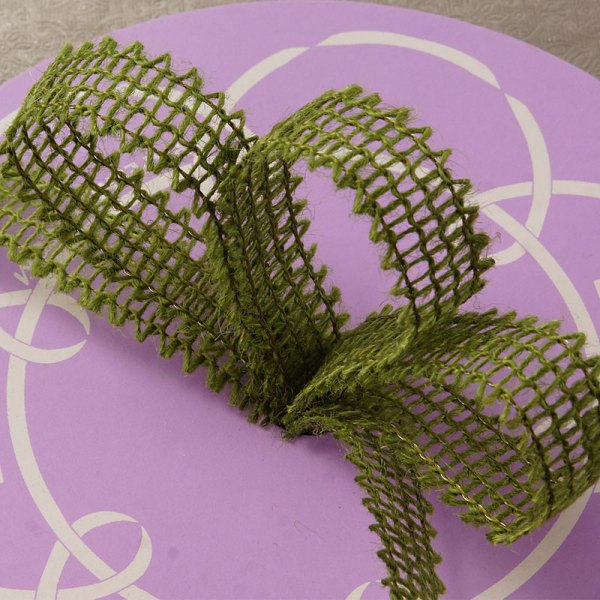"""7/8"""" X 25 Yards Mesh Moss Green Wired Burlap Ribbon by Ribbons.com"""